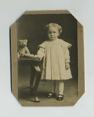 1800's Mounted Photograph Adorable Little Girl Child & Antique Teddy Bear bv8137