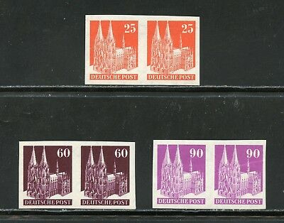 Germany Deutsche Post Castle Imperf Pairs Michel #87,93, & 96 Iv W Mint Nh