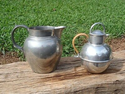 Vintage Stieff Pewter PITCHER and Queen Art Pewter 2 CUP TEAPOT Rattan Handle NR