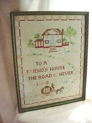 Framed Antique Sampler Friendship Picture under Glass 11 by 14 inch Embroidered