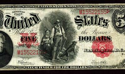 $5 1907 United States Note ** Legal Tender ** Woodchopper