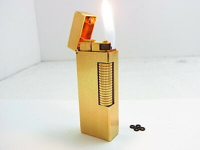 DUNHILL Rollagas Lighter Gold Gas leaks W/4p O-rings Auth Swiss (i