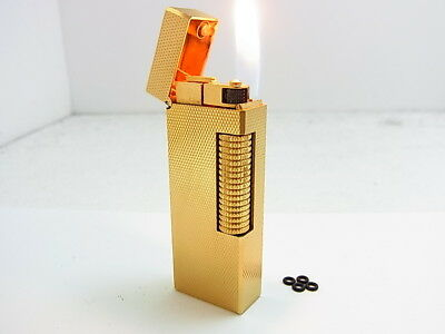 DUNHILL Rollagas Lighter Gold Gas leaks W/4p O-rings Auth Swiss (j