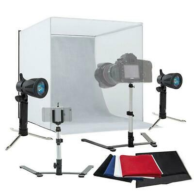 Portable Photo Studio Lighting Cube Tent Kit 60CM Soft Light Box & 4 Backgrounds