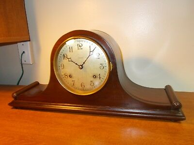 EARLY 1900s ANSONIA 8 DAY TIME + CHIME TAMBOUR, NICE ORIGINAL