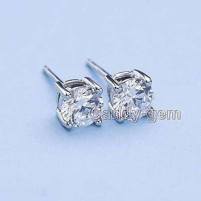 Classic 3mm White Zircon Four Claws Silver S925 Stud Earring for Women ear573