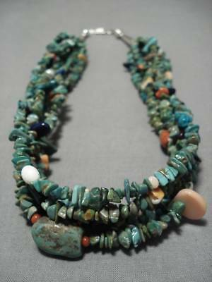 Superior!! Vintage Navajo Royston Turquoise Sterling Silver Necklace Old