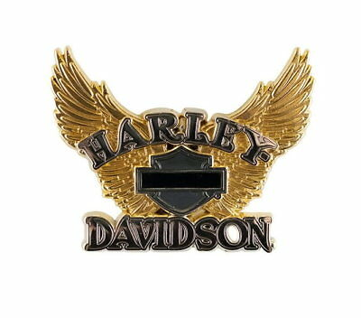 Harley Davidson Bar And Shield Vest Pin With Gold Colored Wings Motorcycle Biker