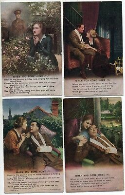 Bamforth Song Card * When You Come Home * Wwi Soldier * Set Of 4 *4874* A7
