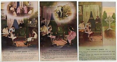 Bamforth Song Card * The Vacant Chair * Wwi Soldier, Family* Set Of 3 *4797* A19