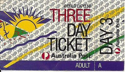 Brisbane World Expo 88 3 day pass TICKET with stubb intact Adult Australia post