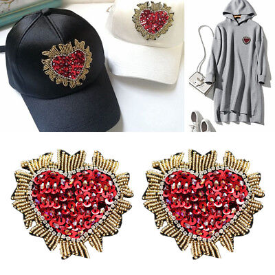 Floral Flower Rhinestone Beaded Heart Sequin Applique Patch Clothing DIY Craft
