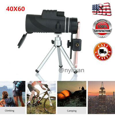 US 40x60 Zoomable Monocular HD Optic Telescopes W/Clip & tripod Bird Watching