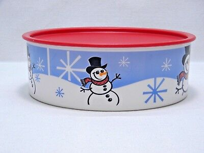"""TUPPERWARE Cookie Snack Christmas Snowman One Touch Canister 3421A-1 -- 9 1/4"""""""