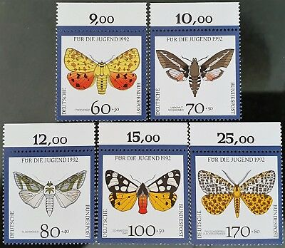 Germany 1992 Sc # B728 to Sc # 732 Semi Postal Butterflies Mint MNH Stamps Set