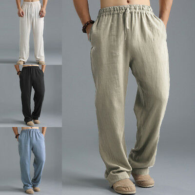 Mens Casual Cotton Linen Baggy Yoga Beach Solid Loose Pants Chinese Trousers