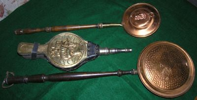Lot of 3 Items - Brass and Copper Warming Pans and Bellows