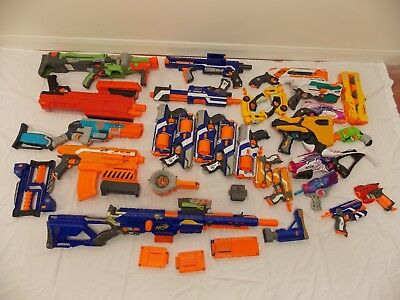 Job Lot of 25 x NERF GUNS + Magazines etc. inc. MEGA XVI-1200 + LONGSTRIKE CS-6