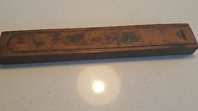 Antique / Vintage WOODEN PENCIL / paintbrush CASE Slide TOP c art deco TREEN