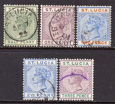 St. Lucia QV 1891-98 (Die II) Set to 3d SG43-47 Used