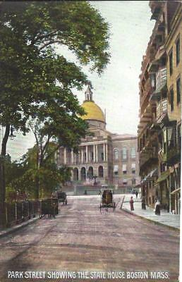 MA - Park Street Showing State House Vintage Dirt Street Scene FREE USA SHIPPING