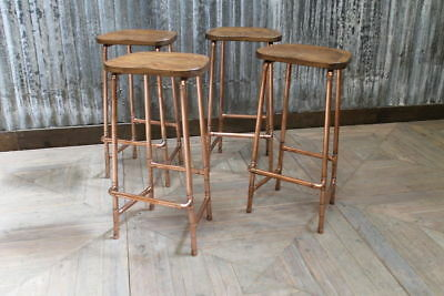 Uk Made Copper Pipework Based Bar Stools With Shaped Solid Oak Top 76Cm Height