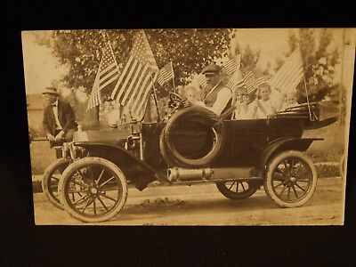 Antique Unused Ford Model T Auto Flags Fourth Of July Parade Real Photo Postcard