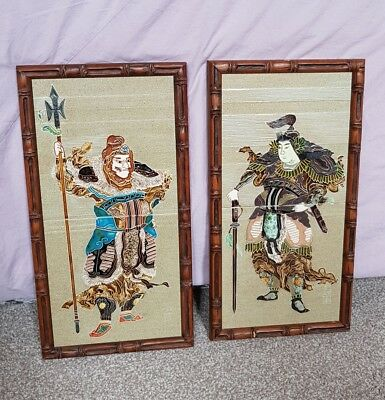 2 Maw & Co Hand Painted Majolica Tiles in Bamboo Wood Frame. Japanese Warrior