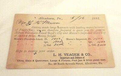 Allentown, Pa Danville, Pa 1881 L. H. Yeager & Co. Post Card Calling Card