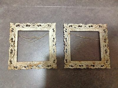 Antique Old Pair Cast Iron Picture Photograph Frames Used Fancy Metal Ornate Art
