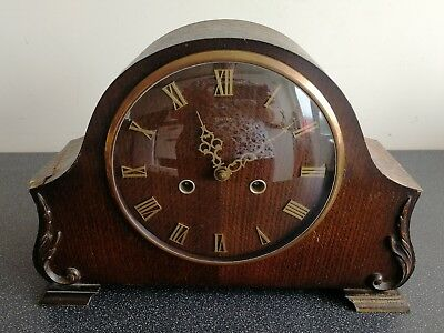 Old Wooden Cased Smiths Mantel Clock With Pendulum