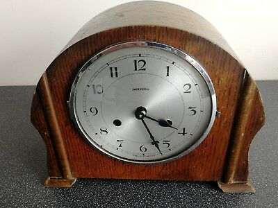 Old Wooden Cased Ingersoll Mantel Clock With Pendulum