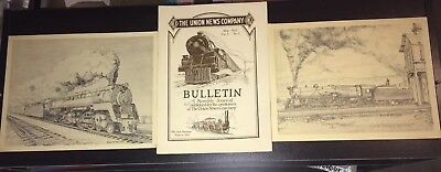 Train Lot 2 The Union News Company Railroad Bulletin 1922 - Prints from 1977