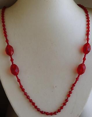 Vintage Single Strand RUBY RED Glass Bead Necklace