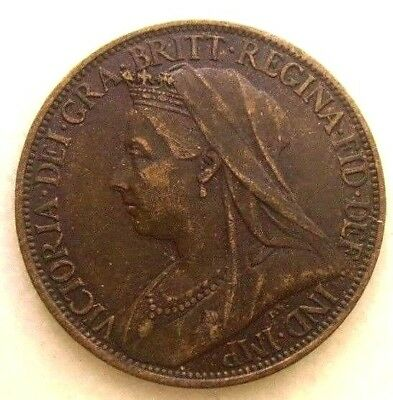 Great Britain Uk Coins, Farthing 1901, Victoria