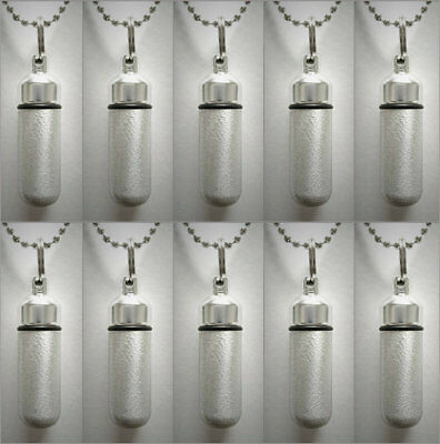 Set of TEN Brushed Silver CREMATION URNS w/Velvet Pouches, Ball-Chains, Fill Kit
