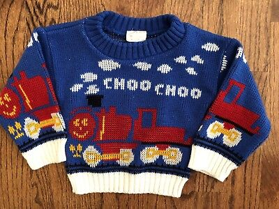 Baby Boy Vintage Train Sweater 12m Primary Blue Red Choo Choo Acrylic