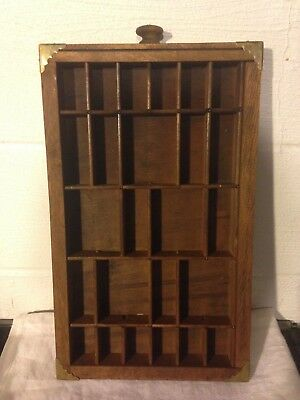 Vintage Printers Wood Drawer Tray Shadowbox With Hardware