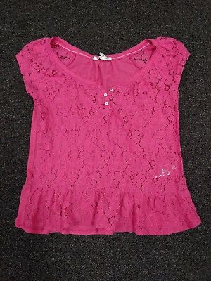 Aeropostale Women's Pink Lace Sheer Front Cap Sleeve Top Shirt Cute