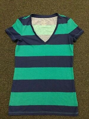 American Eagle Outfitters Blue & Green Striped T-Shirt Size Small V-Neck