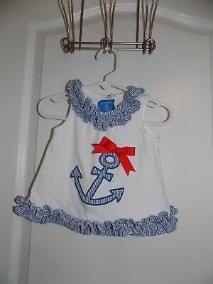 MUD PIE Boutique Girls Blue White Swing Top Seersucker Ruffle 12-18M Anchor Red
