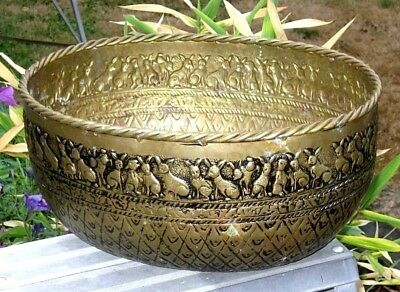 Antique OLD Vintage Heavy Solid BRASS Large OVAL Planter POT with Rope Bunny Rim