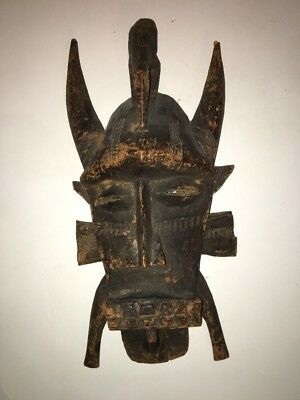 Antique Senufo African Kpecie Wooden Mask With Bird Ivory Coast Africa