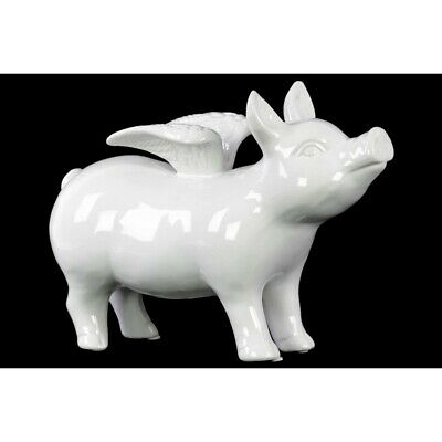 Urban Trends Ceramic Standing Pig Figurine with Wings Gloss, White - 43309