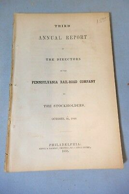 1850 Third Annual Report - The Pennsylvania Railroad Co To Stockholders 1849