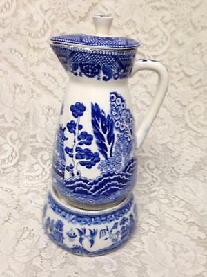 Vintage, Rare, Made in Japan 13inx6in Blue Willow Carafe with Warmer 3inx5in (B)