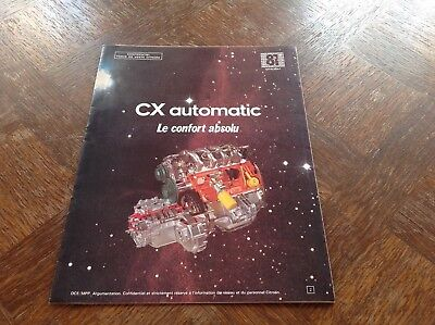Citroen CX AUTOMATIC Catalogue interne Force de vente 1981