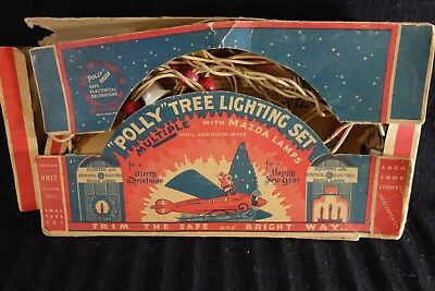 "Noma ""Polly"" Christmas Tree Lighting Set w/GE Mazda Lights in Box-Santa on Plane"