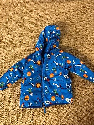 Land's End Toddler Boys' Reversible Blue Jacket Coat Water Resistant Shell 3T