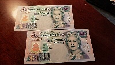 2 Consecutive Government Of Gibraltar 5 Pound Notes Gem Uncirculated